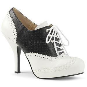 """Shoes - 4 1/2"""" High Heel Pinup Platform Saddle Ankle Boots"""